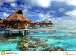 View of the ocean and the house on water.tropical island Royalty Free Stock  Photos