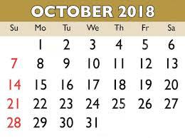 October Calendar 2018
