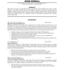 Restaurant Manager Resume Objective Restaurant Manager Resume Restaurant Manager Resume Template For Or