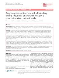 Drug Drug Interactions And Risk Of Bleeding Among Inpatients