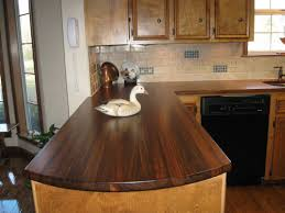 kitchen decoration using dark brown kitchen wood countertop including white stone subway tile kitchen