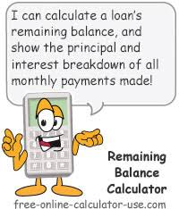 Remaining Balance Calculator To Calculate A Loans Payoff Amount