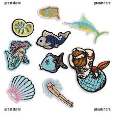 <b>Mermaid Embroidery</b> Sew <b>Iron On Patch</b> Badge Bag Clothes ...