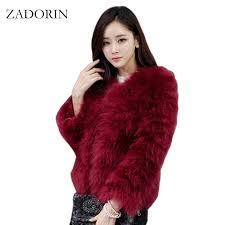 2018 zadorin colored fur coats 2017 women real ostrich wool turkey fur coat feather weaved short jacket women jackets and coats q171137 from shen8408
