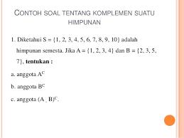Contoh Diagram Venn Komplemen Matematika Ekonomi Himpunan