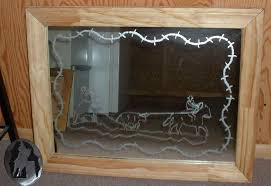 custom etched glass teamroper mirror enchanting and cut