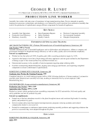 Sample Resume Objective For Production Worker Refrence Assembly Line