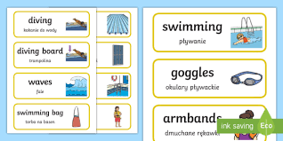 Pool Word Swimming Pool Word Cards Polish Translation Polish Swimming