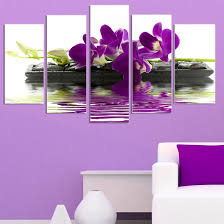 modern wall art decoration on purple orchid wall art with spa wall decoration wall art set of 5 parts purple orchid