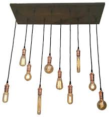 10 pendant reclaimed wood chandelier copper mixed antique bulbs