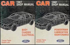 1987 ford tempo mercury topaz foldout wiring diagram 87 1987 tempo escort exp topaz lynx repair shop manual original set of 2