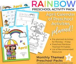 Rainbow Preschool Activity Pack Calendar