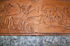 custom made custom leather checkbook cover with deer and landscape design