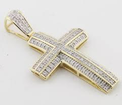 10k gold cross charm mens with diamonds 1 3ctw 38mm tall diamond cross pendant