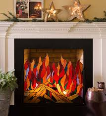 stained glass roaring fire screen features 116 individual pieces of cut glass stunning