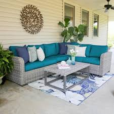 leisure made forsyth 5 piece wicker outdoor sectional set with pea cushions
