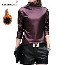 plus size women pu turtleneck blouse metallic long sleeve faux leather wet look shirts pullover plus