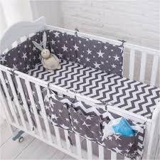 2018 grey star bedding set multi functional baby safe sleeping bed set soft baby cot bed hanging storage bag kids sheets boys girl kids bedding from