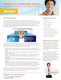 Pc Pro Certification Testout Pro Certifications Brochure