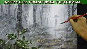 acrylic landscape painting tutorial man with umbrella walking in the rain forest for beginners