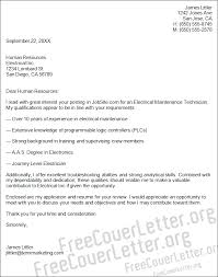 Electrician Cover Letter Cover Letter Electrical Maintenance Technician 32