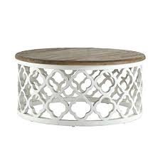 silver drum coffee table signal hills reclaimed wood trellis drum coffee table