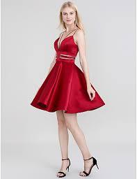A Line Spaghetti Strap Short Mini Satin Dress With Sash Ribbon By Ts Couture