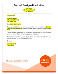 Letter Of Resignation Samples Template Extraordinary Two Weeks Notice Letter Sample Free Download