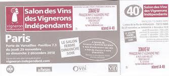 du 29 novembre au 2 décembre 2018 salon eds vignerons indépendants paris porte de versailles