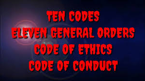 Learn to spell your name in morse code and send sos. Security Guard Ten Codes 01 100 Eleven General Orders Code Of Ethics Code Of Conduct Youtube