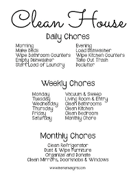 Daily Weekly Monthly Chore Chart Monthly Cleaning Chart Futurenuns Info