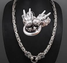 silver fancy dragon pendant