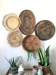 wicker wall basket vintage oval dark brown woven wicker basket trivet wall art five in stock