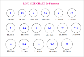 Actual Size Ring Size Chart Ring Size Chart Primarose Co Ltd