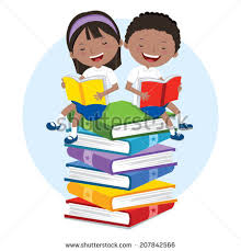 kids love to read books children sitting on multicolor books they are enjoying