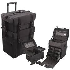 amazon glenor beauty 2 in 1 rolling wheeled professional makeup artist make up case with 2 bags black beauty