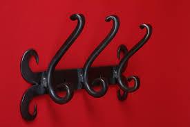 wrought iron 3 hook coat rack