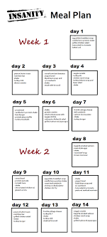 weeks 1 and 2 of insanity meal plan wish i d thought to do this the first time through