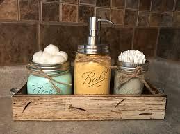 MASON Jar Bathroom SET in Antique White TRAY, Cotton Ball Holder, Soap  Dispenser, Mini Q-tip Jars Painted Distressed Counter Decor Kitchen