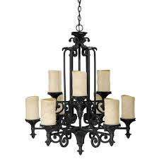 marvelous wrought iron candle chandelier on nine light 3269wi 125 premier