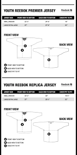 Kids Jersey Size Chart Size Chart Nhl Jersey For Nhl Fans Officially Licensed