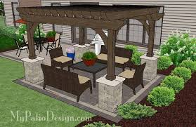 with the simple and affordable brick patio design with pergola you ll enjoy colorful outdoor dining and a shaded seating area layoutaterial