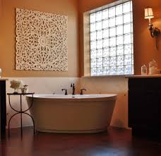 remodeled bathroom with glass block window