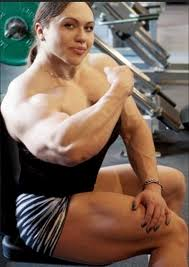 Woman big muscle breast