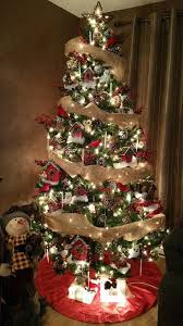 christmas trees decorated with burlap ribbon. Christmas Tree Decorated In Red White And Brown Coloured Decorations Burlap Ribbon Holly On Trees With