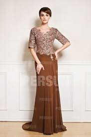 2015 New Half Sleeve V Neck Brown Wedding Guest Dress With Lace Long Dresses For Weddings Guests