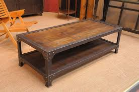 french vintage industrial two tiered coffee table with wood top square industrial coffee table