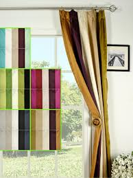 Silver Beach Bold Stripe Triple Pinch Pleat Faux Silk Curtains