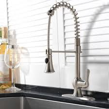 niquero is a stylish brushed nickel kitchen faucet with a modern design and improved functionality it has a pull down spray for your convenience and it