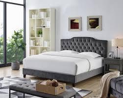 OAH D3009 Sterling gray velvet like fabric queen low-profile bed frame set